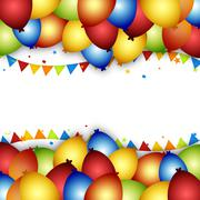 Stock Illustration of Balloon celebration background with flags, confetti and ribbons.