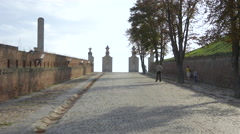 View of the second gate from an alley of the Alba Iulia fortress Stock Footage