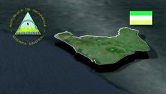 Chinandega with Coat of arms animation map Stock Footage