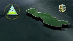 Jinotega with Coat of arms animation map Stock Footage