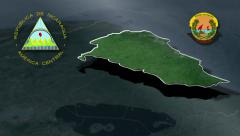 Costa Caribe Sur with Coat of arms animation map - stock footage