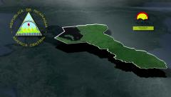 Río San Juan with Coat of arms animation map Stock Footage