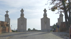 Closer view of the second gate of the fortress in Alba Iulia Stock Footage