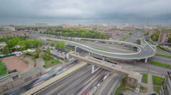 Top view of urban transport traffic on Leningradskoye shosse timelapse, Moscow Stock Footage