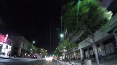 View at night of the streets of Santa Monica in Los Angeles, California Stock Footage