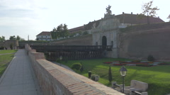 Bridge at the first entrance of the Alba Iulia fortress Stock Footage