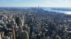 view of lower manhatten from the observation deck of the empire state building - stock footage