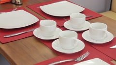 Served tables waiting for clients Stock Footage