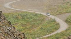 ICELAND Hljodaklettar valley Tal dirt road Stock Footage