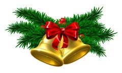 Gold Christmas Bells Decoration Stock Illustration