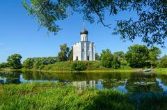 Church of Intercession on Nerl near village Bogolyubovo, Russia - stock photo