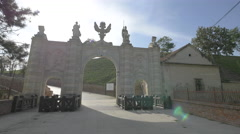 View of the Alba Iulia fortress' first gate seen from inside Stock Footage