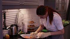 Woman paneer fish steaks Stock Footage