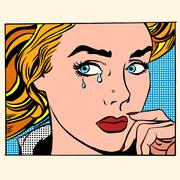 Girl crying woman face Stock Illustration