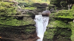 Small waterfall on Davis Fall river Stock Footage