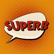 superb super excellent comic bubble retro text - stock illustration