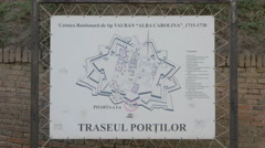 Map of the Alba Iulia fortress' gates Stock Footage