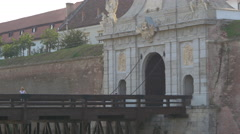 View of the entrance bridge and third gate of Alba Iulia fortress Stock Footage