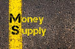 Business Acronym MS as Money Supply Stock Photos