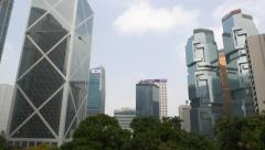 Panoramic view, Lippo towers to BOC tower and Citybank Plaza pan shot Stock Footage
