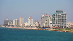 JAFFA, ISRAEL SEPTEMBER 17, 2015: View on tall buildings in Tel Aviv Stock Footage