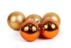 orange balls christmas ornament - stock photo