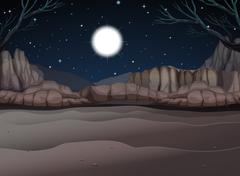 Nature scene of canyon at night - stock illustration