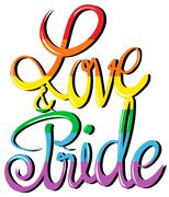 Love and pride text design - stock illustration
