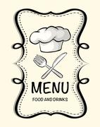 Logo design with chef hat - stock illustration