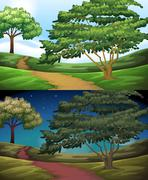 Nature scene of the countryside at day and night - stock illustration