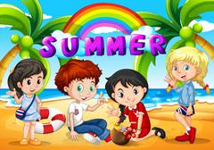 Children hanging out on the beach - stock illustration