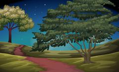 Nature scene of countryside at night - stock illustration