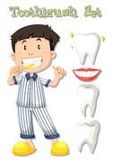 Boy in pajamas brushing teeth Stock Illustration