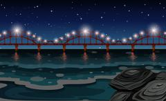 Ocean scene with bridge at night - stock illustration