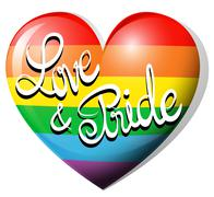 Love and pride on rainbow heart - stock illustration