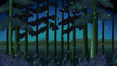 Forest scene at night with fireflies - stock illustration