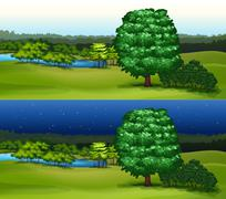 Green field at daytime and night time - stock illustration