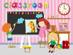 Children drawing and painting on board - stock illustration