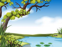 River scene with tree on the river bank Stock Illustration