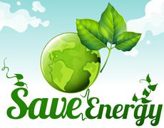 Save energy with earth and green leaves Stock Illustration