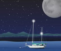 Ocean scene on fullmoon night - stock illustration