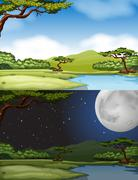 River scene at daytime and nighttime - stock illustration