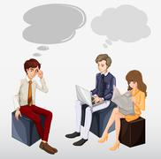 Business people working in team - stock illustration