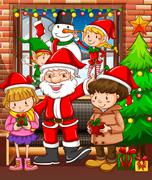 Christmas theme with Santa and children - stock illustration