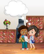 Boy and girl in the library Stock Illustration