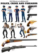 Police and criminal set - stock illustration