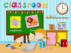 Children learning in the classroom Stock Illustration