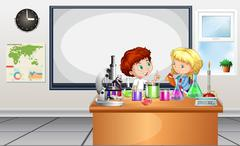 Children working on lab experiment - stock illustration