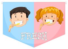 Boy and girl brushing teeth - stock illustration