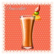 Orange smoothie with fresh fruits - stock illustration